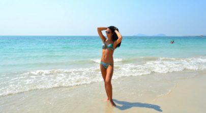Beach dancing girl